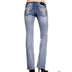 Miss Me Thick Stitch Crystal Studded Bootcut Jeans